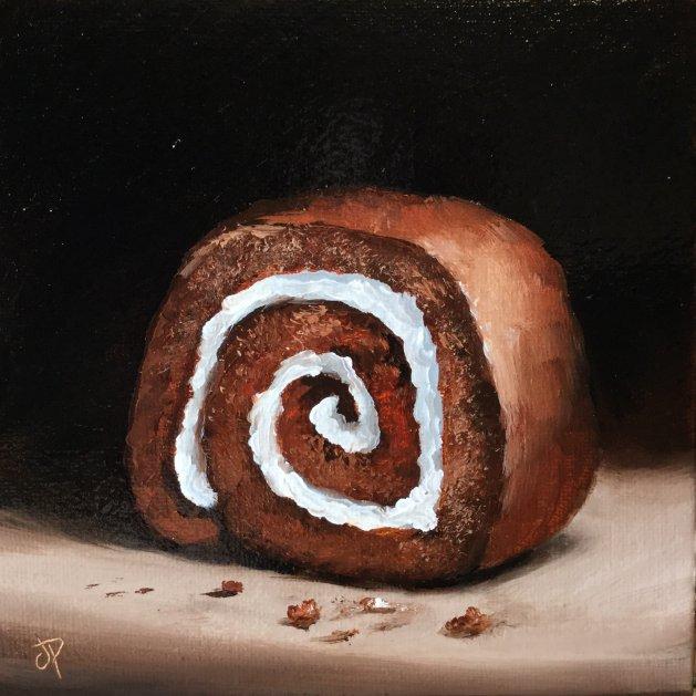Chocolate Swiss roll. Original art by Jane Palmer