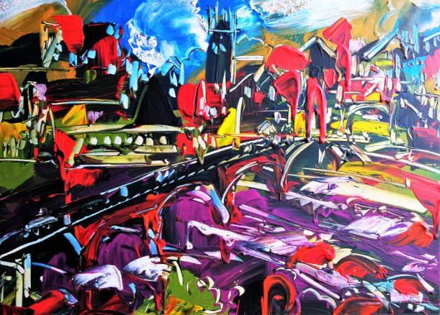 Landscape Abstract Chester 133. Original art by Eraclis Aristidou