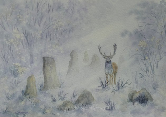 The Stag & the Standing Stones.. Original art by Sue Massey