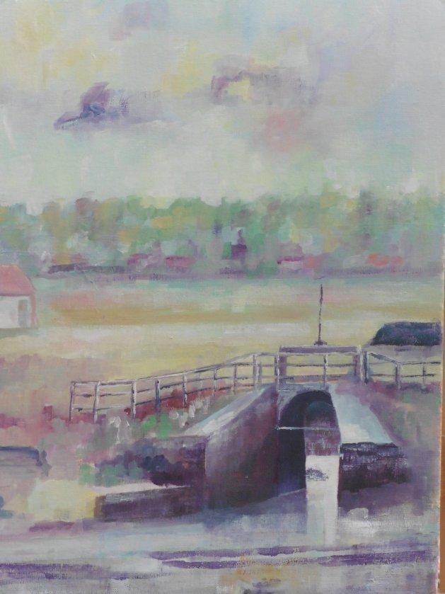 Thornham sluice Norfolk. Original art by John Walker