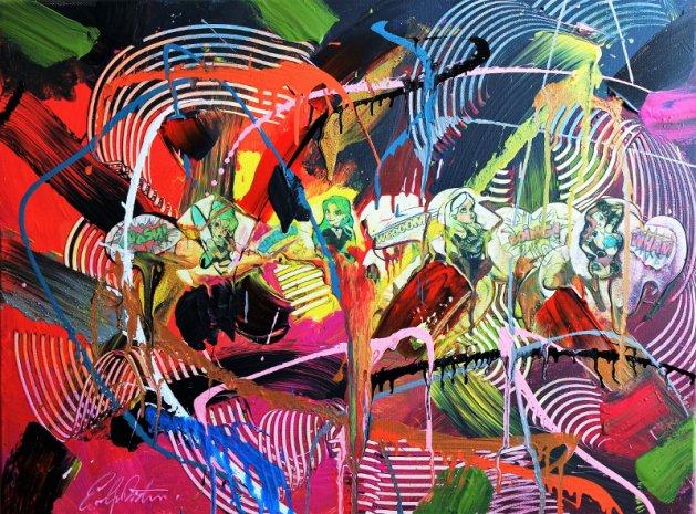 Pop-Art Abstract Girls Dare to Dream 2056. Original art by Eraclis Aristidou