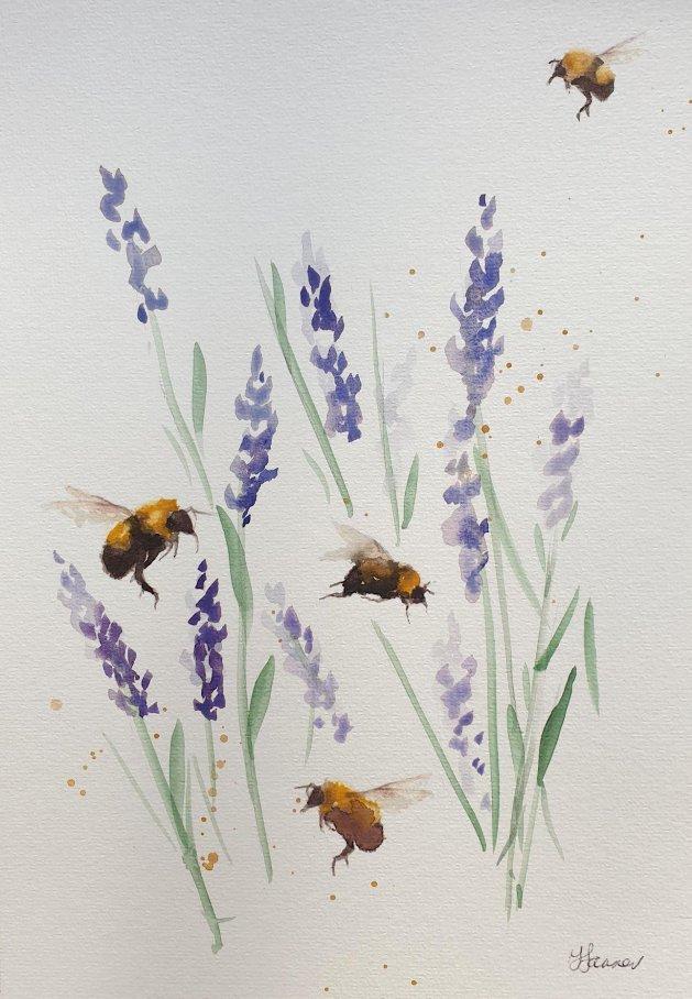 Bees & Lavender. Original art by Teresa Tanner