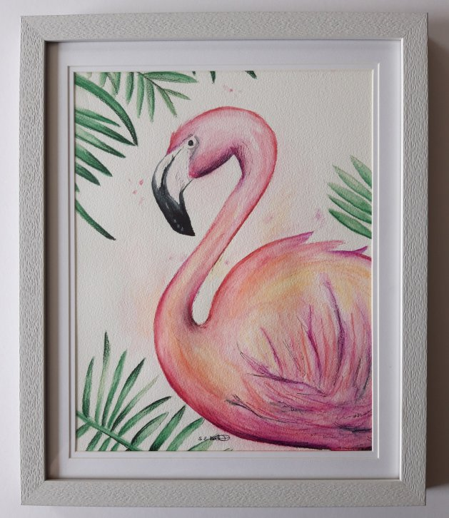 Flamingo. Original art by Sarah Dodd