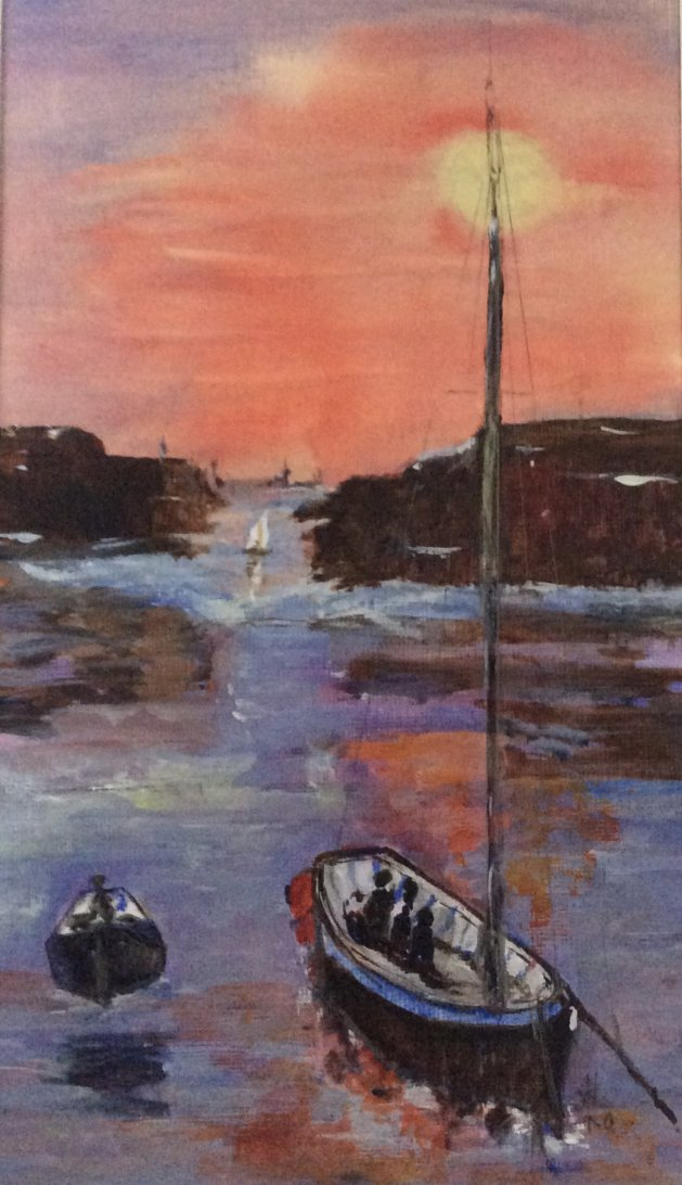 Sailing at Sunrise. Original art by Wendy Lloyd