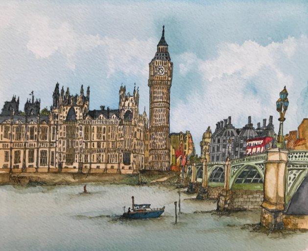 Big Ben, London. Original art by Adrian Green