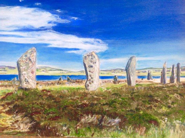 Ring of Brodgar Orkney In summer. Original art by KathleenTaylor