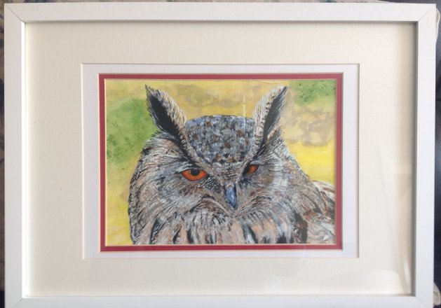 Wise Scottish Owl. Original art by KathleenTaylor