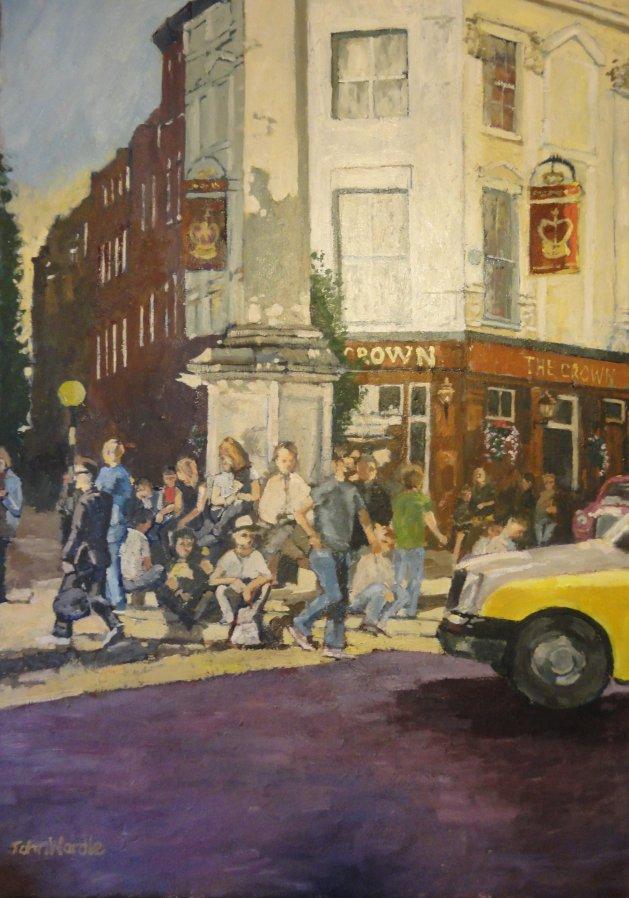 London, Seven Dials; Evening. Original art by John Wardle