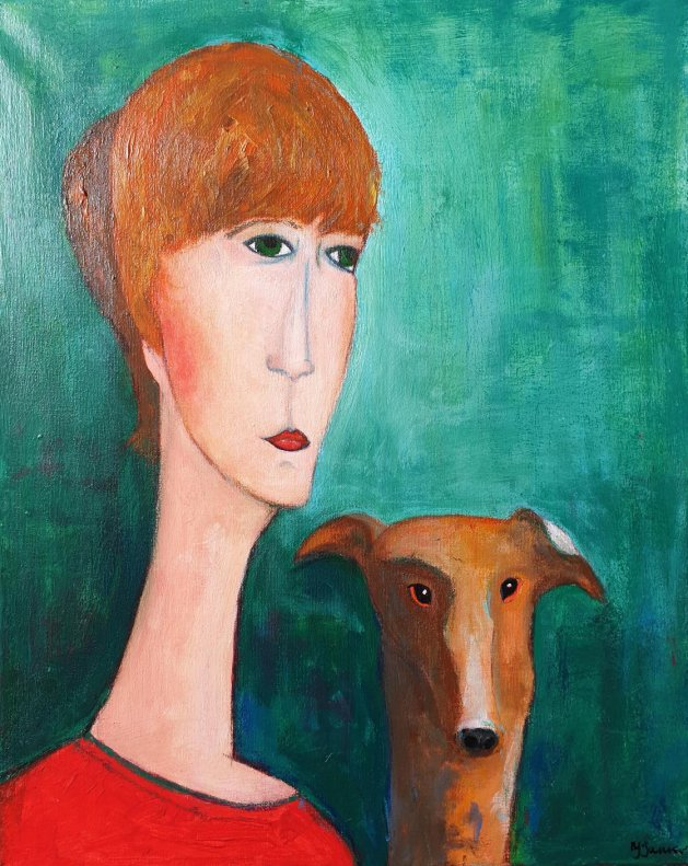 Woman with a greyhound. Original art by Teresa Tanner