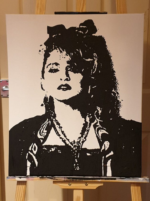 Madonna in a mono pop art style. Original art by William Pow