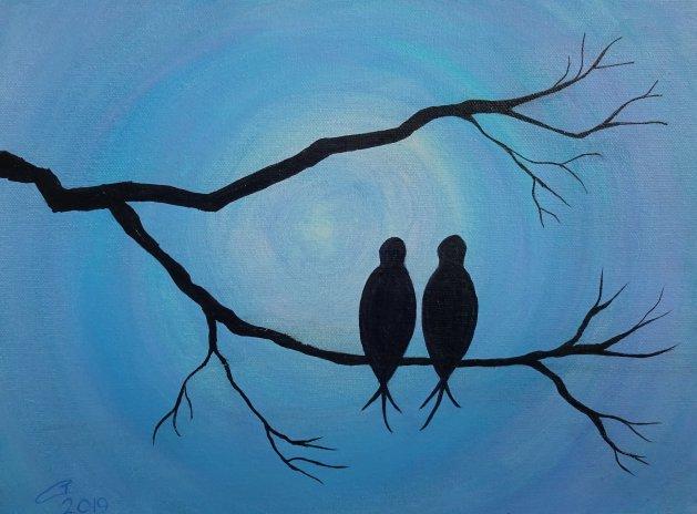 Love Birds. Original art by Tom Carter