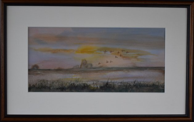 Geese over St. Benet's Abbey. Original art by Anthony Rose
