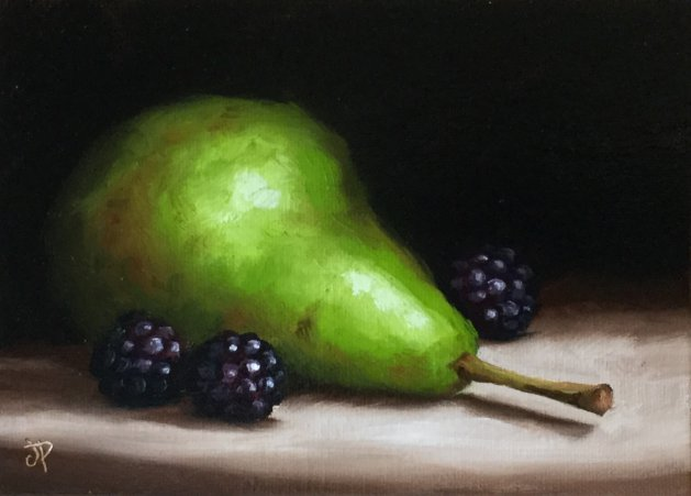 Pear with blackberries. Original art by Jane Palmer