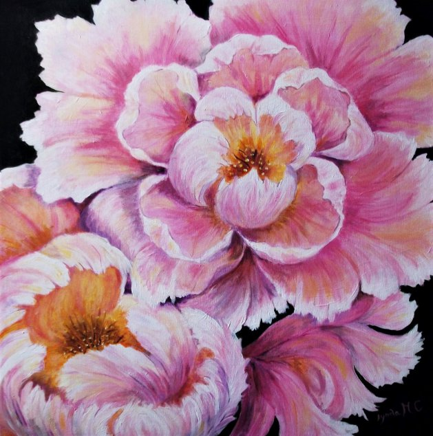 PEONY PETALS. Original art by Lynda Cockshott