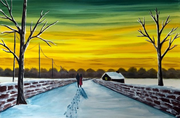 Footprints In The Snow. Original art by Aisha Haider