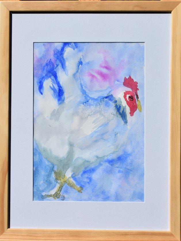 Blue Hen. Original art by SB Boursot