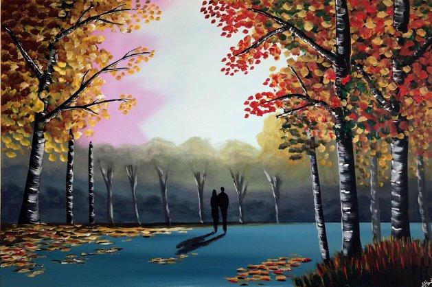 Our Colourful Autumn Walk 5. Original art by Aisha Haider