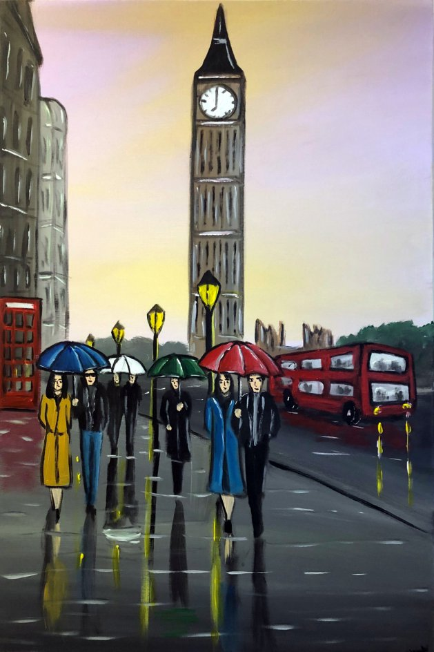 Purple London Sunset. Original art by Aisha Haider