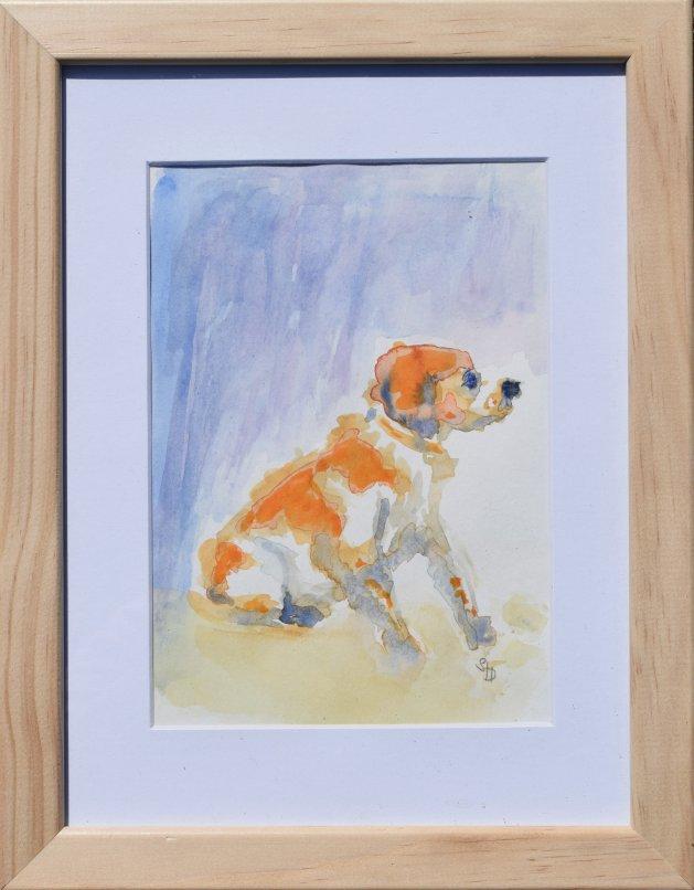Sitting Spaniel. Original art by SB Boursot