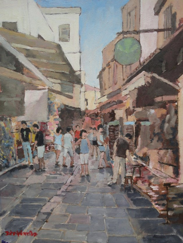 Rhodes Shopping Street. Original art by John Wardle