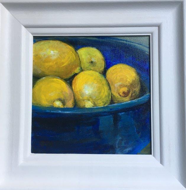 Blue Pottery with Lemons. Original art by Sarah Nesbitt