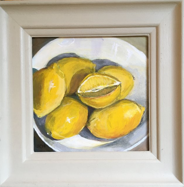 Lemons in the White Bowl. Original art by Sarah Nesbitt