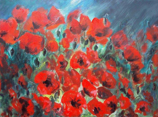Storm Poppies. Original art by Teresa Tanner