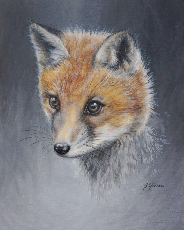 Young Fox. Original art by Jayne Farrer