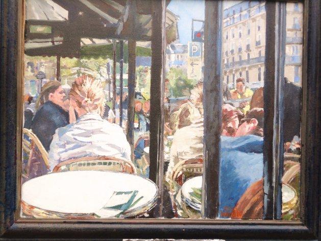 Left Bank Cafe. Original art by John Wardle