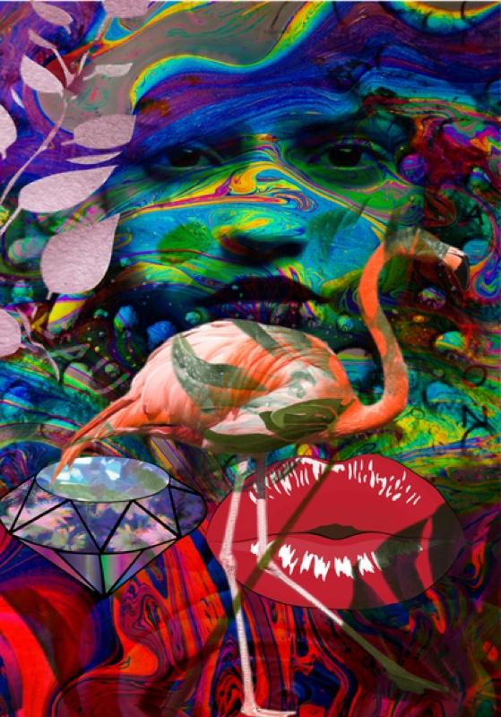 Flamingo. Original art by Andi Williams