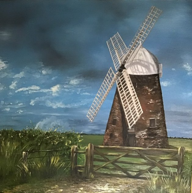 Halnaker windmill. Original art by Janet Blower
