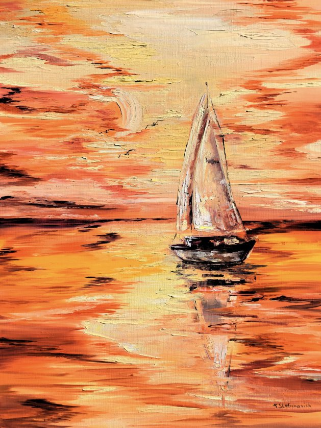 Sailboat. Original art by Tanya Stefanovich