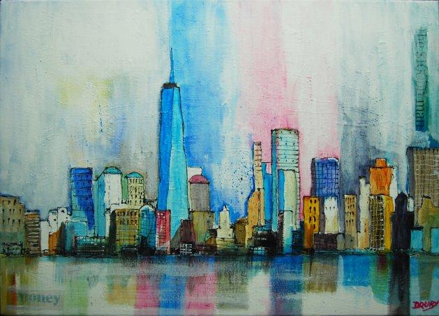 New York Skyline. Original art by Randle Drury