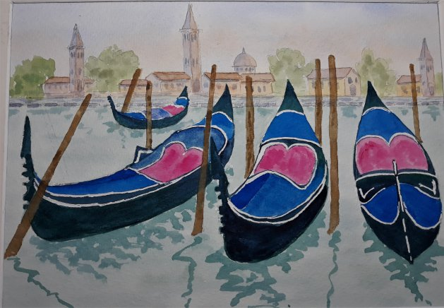 Venice Lagoon. Original art by Graham Luscombe