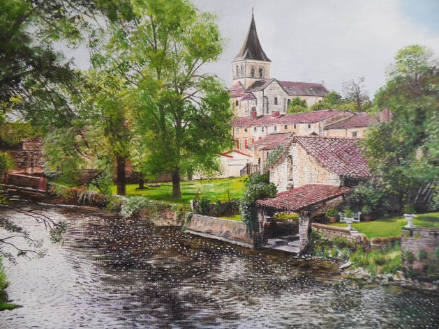 Vertuil ,France. Original art by Philip Smith