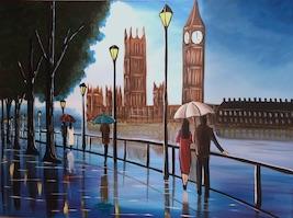 Blue Skies In London 4. Original art by Aisha Haider