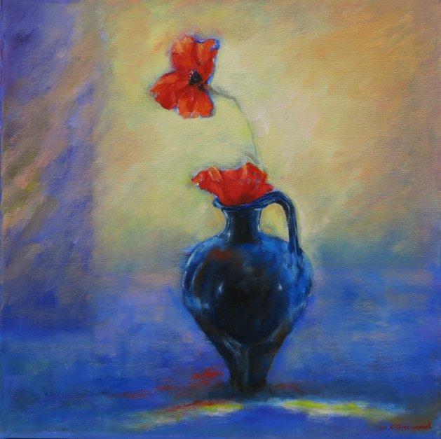 Blue Jug and Poppies. Original art by Maureen Greenwood