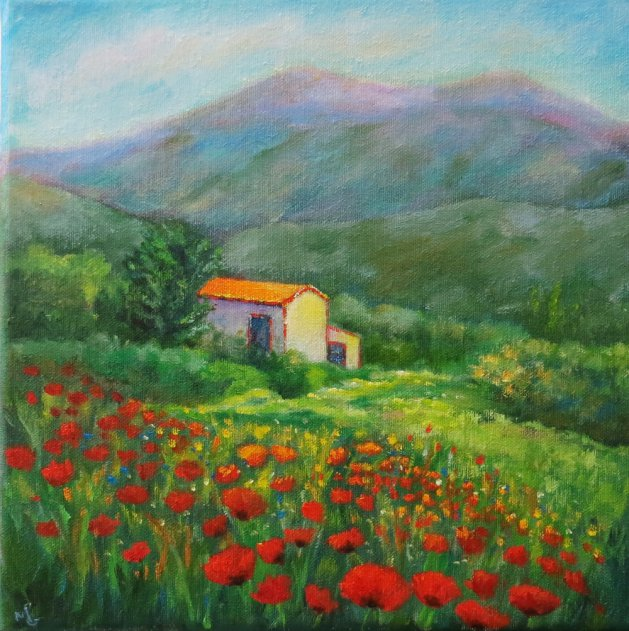A Cottage in Provence. Original art by Maureen Greenwood