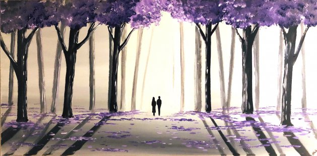 Purple Tree Walk 2. Original art by Aisha Haider
