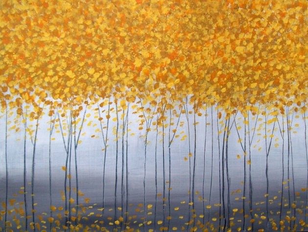 yellow abstract trees. Original art by Patricia Richards
