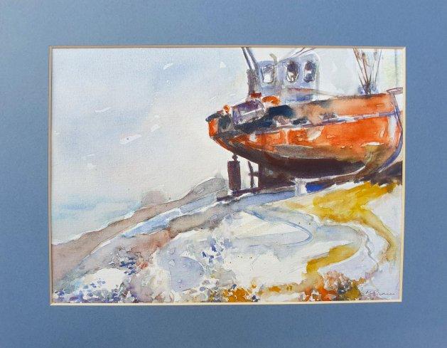 Beached Trawler boat. Original art by Teresa Tanner