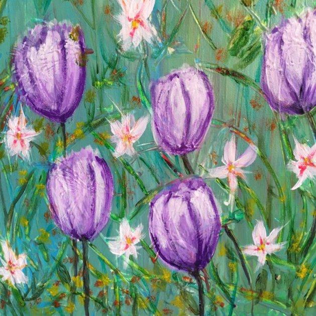 Purple Tulips. Original art by Julian Tromans