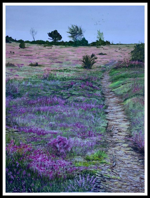 Headley heath in Surrey. Original art by Janet Blower