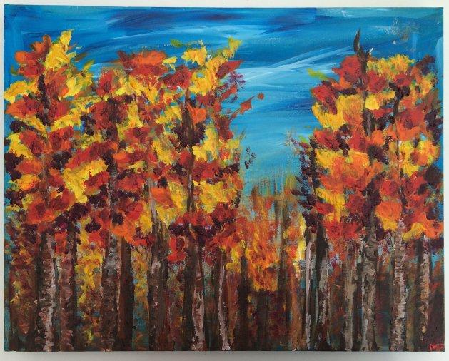 Autumn Treetops. Original art by Michelle Fernandes