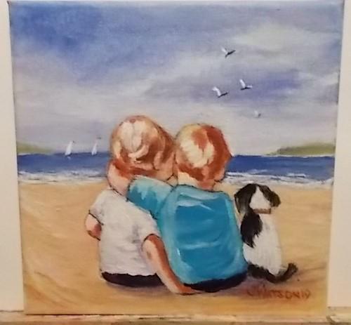 Best friends. Original art by Janice Watson