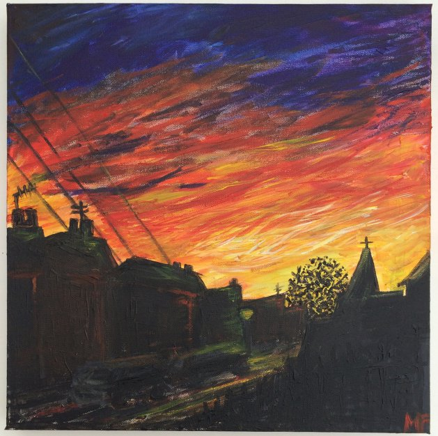 Urban Sunset. Original art by Michelle Fernandes