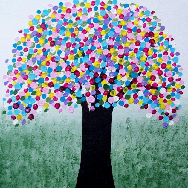 Rainbow Tree. Original art by Patricia Richards