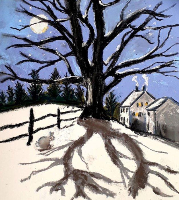 Moonlit snowy scene. Original art by Jackie Marsh