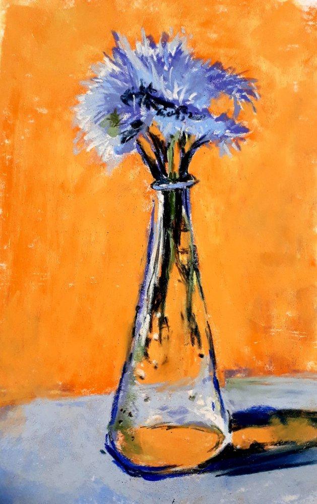 cornflowers in vase. Original art by Jackie Marsh