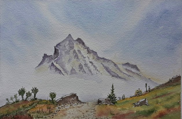 Misty Mountain. Original art by Graham Luscombe